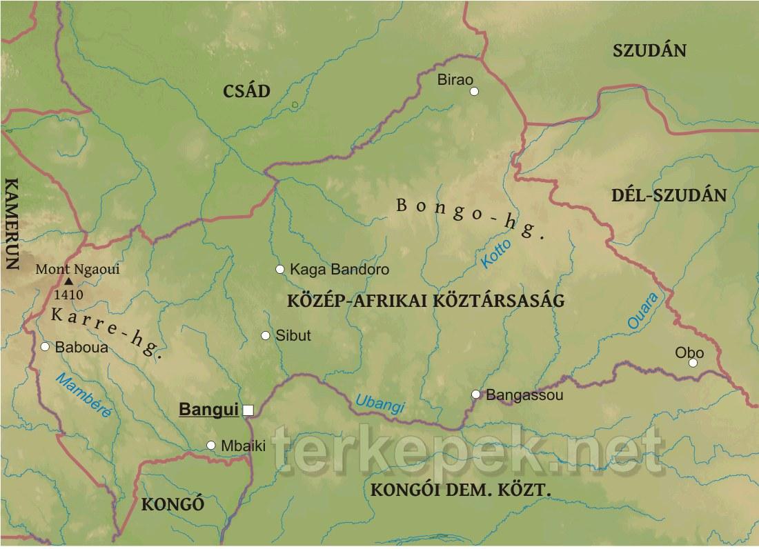 dél afrika térkép Közép Afrikai Köztársaság domborzati térképe dél afrika térkép